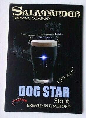Beer pump clip badge front SALAMANDER brewery DOG STAR STOUT cask ale Yorkshire