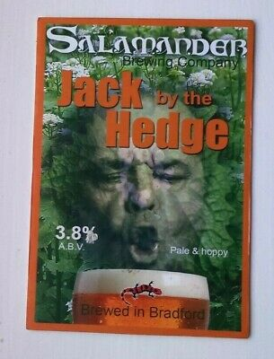 Beer pump clip badge front SALAMANDER brewery JACK BY THE HEDGE ale Yorkshire