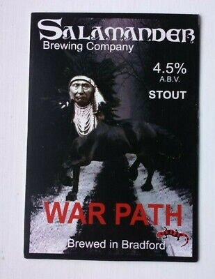 Beer pump clip badge front SALAMANDER brewery WAR PATH STOUT cask ale Yorkshire