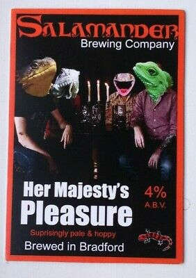 Beer pump clip badge front SALAMANDER brewery HER MAJESTY'S PLEASURE ale Yorks