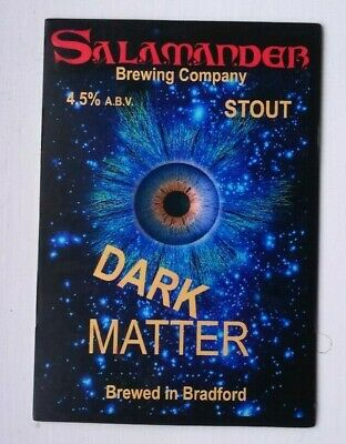 Beer pump clip badge front SALAMANDER brewery DARK MATTER STOUT ale Yorkshire
