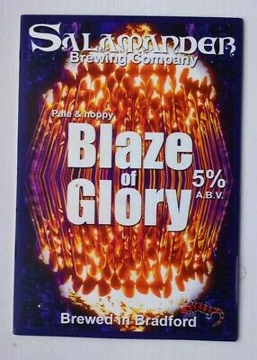 Beer pump clip badge front SALAMANDER brewery BLAZE OF GLORY cask ale Yorkshire