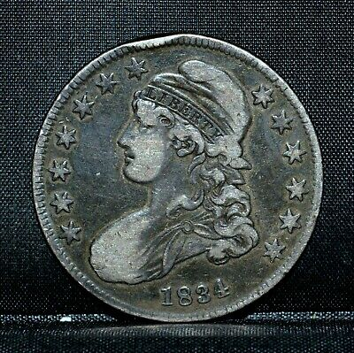 1834 Capped Bust Half Dollar ✪ Vf Very Fine Details ✪ 50C Silver Rim ◢Trusted◣