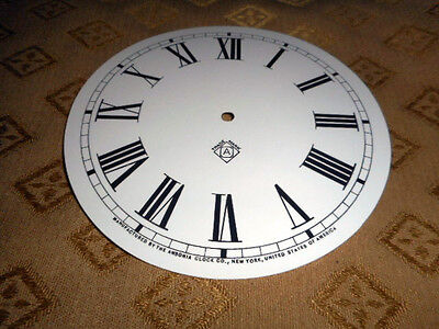 For American Clocks-Ansonia Paper Clock Dial-175mm M/T-GLOSS WHITE- Parts/Spares