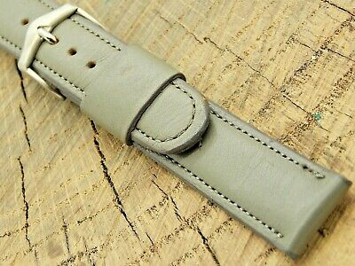 NOS Vintage Unused JB Champion Grey Leather Watch Band Silver Tone Buckle 17.5mm