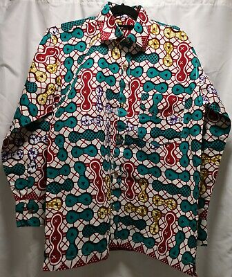 Men African Wear Shirt Long Sleeves 16/16.5 Machine & Hand Finished