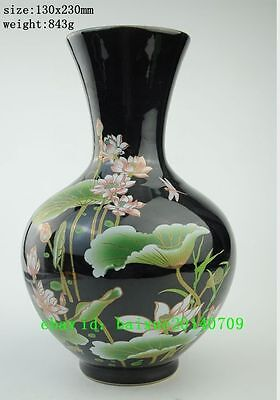 Chinese old  jingdezhen porcelain handwork painted lotus unique vase