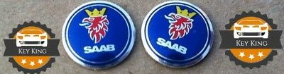 2 x 12mm Saab 93 95 9-3 9-5 Aero key badge emblem logo sticker 4 button fob case