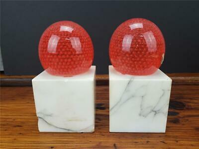 VINTAGE Mid Century MURANO GLASS CARRARA MARBLE BOOKENDS Bubbles TAGGED ITALY