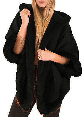 Womens Ladies Italian Lagenlook Faux Fur Trim Hooded Wool Cape Shawl Coat Poncho