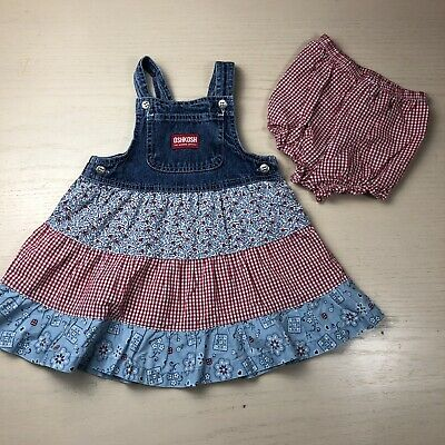 Vintage Oshkosh B'gosh Tiered Jumper Dress 18 Months Floral Gingham Bandana