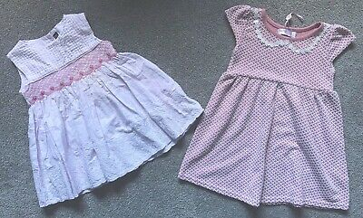 Girls Baby Dresses M&Co Summer Clothes Bundle 9-12 Months White & Pink
