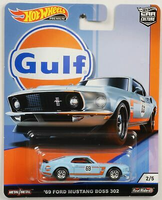 Gulf Mustang Boss 302 1969 1:64 Car culture Real Riders Hot Wheels NEU FPY86