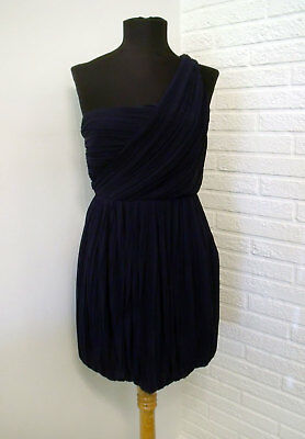 aa6183e174 Theory Navy Blue Silk Pleated One Shoulder Cocktail Dress - size 4 Small