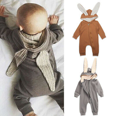 Baby Girl Boy Easter Rabbit Hooded Overall Bunny Romper Playsuit Jumpsuit Outfit
