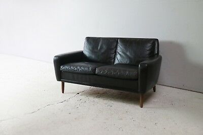 1960's Danish Mid Century leather 2 seat sofa