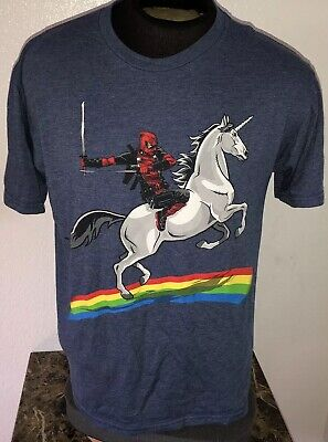 Marvel Deadpool Unicorn Rainbow Blue Mens Short Sleeve Shirt Size Large