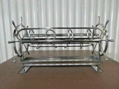 Very Unusual And Rare Art Deco Chrome Nautical Revolving Bar W Ships Wheels