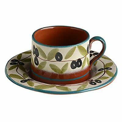 Italian Dinnerware Tea Cup with Saucer Handmade in Italy Blue Olive Collection