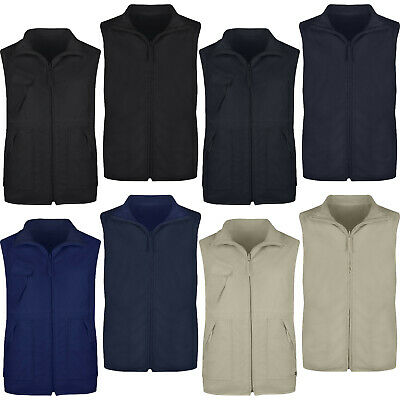 Mens Gilet Zip Up Reversible Fleece Bodywarmer Vest Sleeveless Jacket Waistcoat