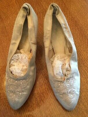 Beautiful Women'S Old Antique Satin Wedding Shoes With Embroidered Glass Beads