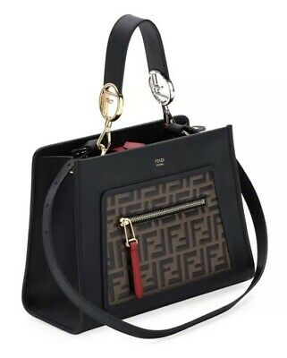 8d9763dace84f7 NWT 100% Authentic Fendi Printed Calf FF Runaway Small Shopper Tote Bag  $2,390