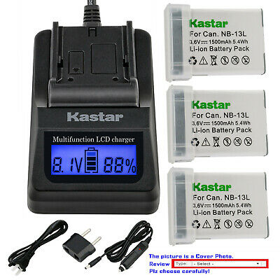 Kastar Battery LCD Fast Charger for Canon NB-13L CB-2LH & PowerShot SX740 HS