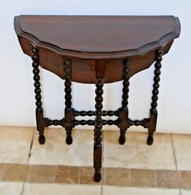 Petite Antique English Oak Barley Twist Gate Leg drop leaf Table Round scallop