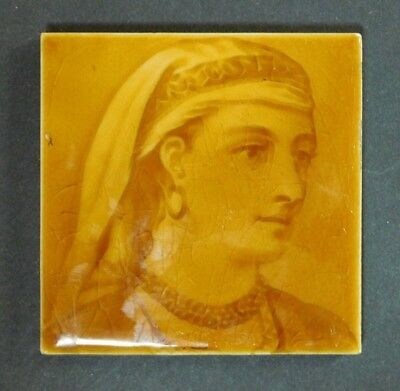 """ANTIQUE HEAD OF PERSIAN WOMAN TILE A. E. T. Co. LIMITED 4.25"""" X 4.25"""" BEAUTIFUL!"""