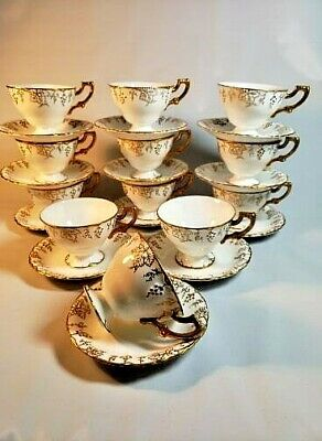 12 Full Dozen Royal Crown Derby Grape Vine Gold on White Footed Cups & Saucers