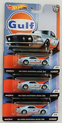 Gulf Mustang Boss 302 1969 Set 3 pcs 1:64 Car culture Real Riders Hot Wheels FPY