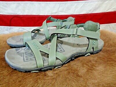 ab6ed0c4e44d Merrell Hiking Sandals Womens 9 Blue Dove Green Leather Sandspur Rose Trail  Nice