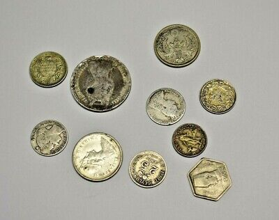 10 assorted old world foreign SILVER coin lot 1850 - 1968