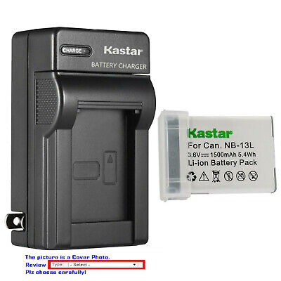 Kastar Battery AC Wall Charger for Genuine Canon NB-13L CB-2LH CB-2LHE CB-2LHT