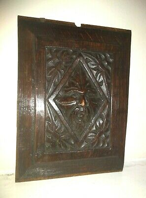 Rare Early 17th Century Charles I Period Carved Oak Green Man Panel c1630