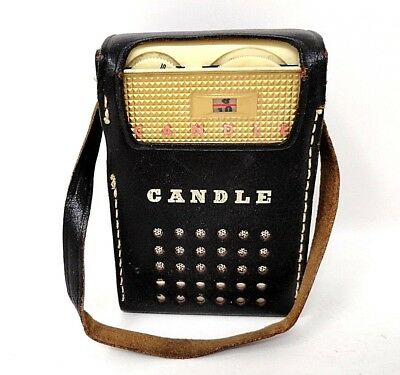 60's Vintage - Candle 8 Transistor Radio w/Leather Case - Japan