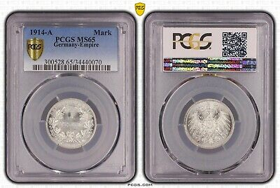 1 Mark 1914 A Large Eagle Germany German Empire Pcgs Ms65