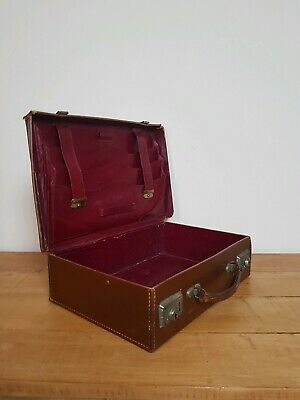 Vintage Tan Brown Leather Small Suitcase Document Case Briefcase with Organiser