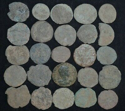 Collection of 25 Ancient Roman Imperial Bronze coins, 250-350 Ad. Detector Finds