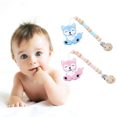 Silicone Kids Pacifier Chain Lovely Fox Styling Baby Dummy Pacifier Clip Toys GA