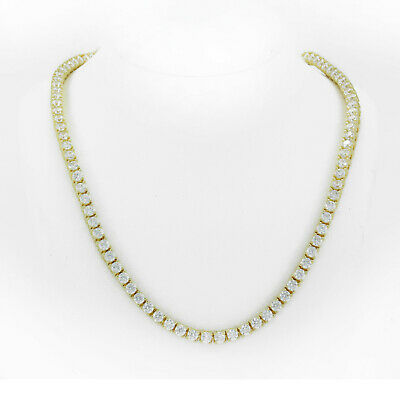 Tennis Necklace 14K Gold Finish Lab Diamonds Iced Out 3mm Choker Chain 16 Inches
