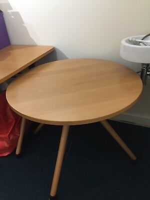 Wooden Office Table Circular 90 cm Diameter Adjustable Height Collection Only