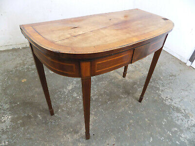 antique,edwardian,inlaid,mahogany,demi lune,hall table,card table,tapered legs