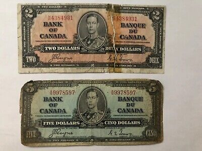 1937  Bank Of Canada $2 and $5 Notes   Coyne-Towers  $2 uneven cut
