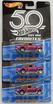 55 Chevy Gasser  Set 3 pcs 50th anniversary Favorites Real Riders  1:64 Hot Whee