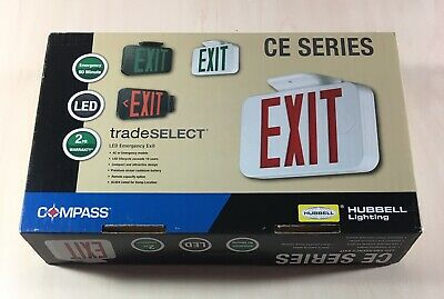 Compass and Hubell LED Emergency Exit Sign Red CE Series Letters Brand New