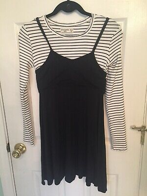 Abercrombie And Fitch Kids Girls Black Striped Long Sleeve Dress 13/14 L Large