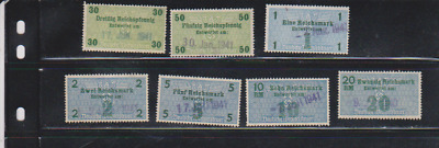 Germany Revenue WWII 1941 3rd Reich Nazi Era 30,50pf,1,2,5,10,20 Mark Used