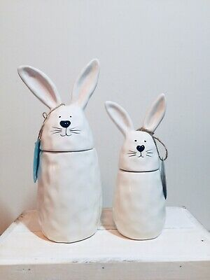 Strawberry Street Easter Bunny Rabbit Canisters - Lots of Dimples! NEW