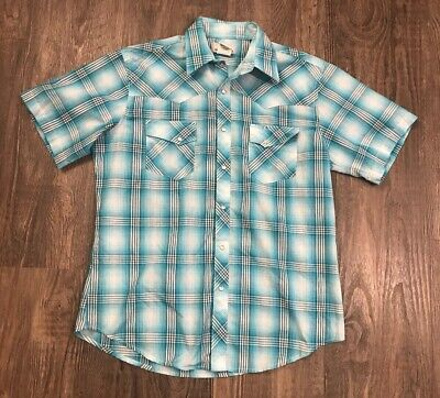 Mens Wrancher by Wrangler Western Pearl Snap Shirt LARGE Blue Plaid Short Sleeve